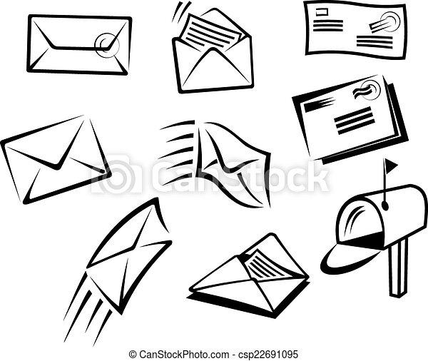 Sobres y símbolos de correo - csp22691095