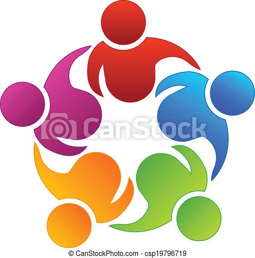 Logo de compañeros de trabajo en equipo - csp19796719
