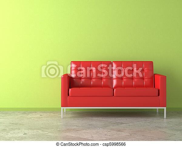 sofá rojo en la pared verde - csp5998566