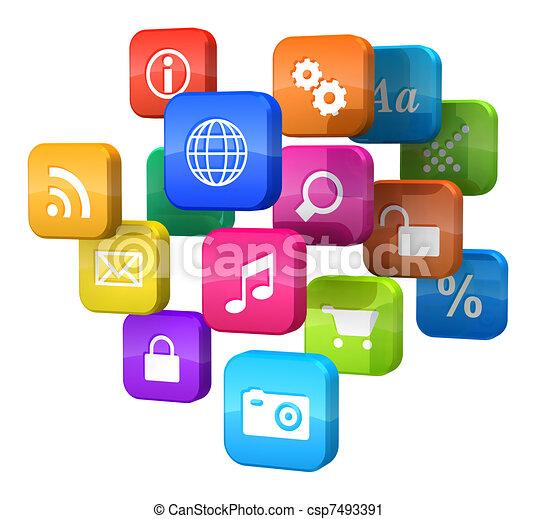 El concepto de software: la nube de iconos del programa - csp7493391