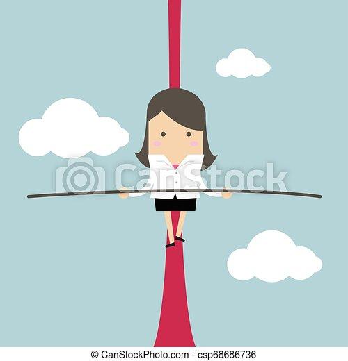 Mujer de negocios balanceándose en la cuerda en el aire. - csp68686736