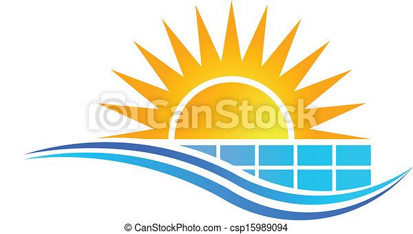 Sol con panel solar vector de logo - csp15989094