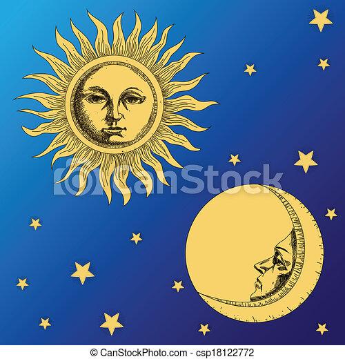 Luna solar y estrellas - csp18122772