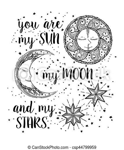 Sol, luna y estrellas - csp44799959