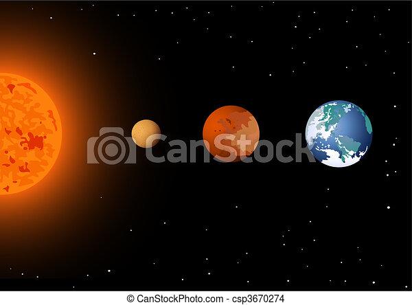 Sol, mercurio, venus y tierra - csp3670274
