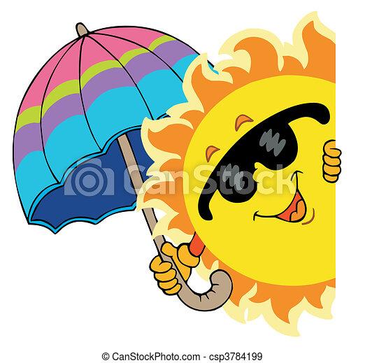 Sol oscuro con paraguas - csp3784199
