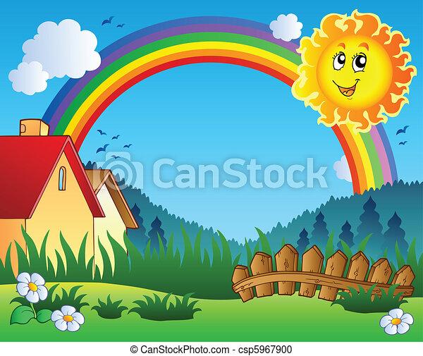 Landscape con sol y arco iris - csp5967900