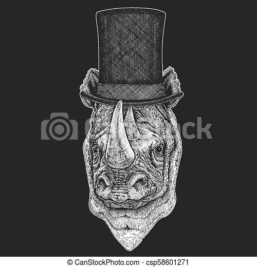 Sombrero de copa, cilindro. Animal hipster, caballero. Un tocado clásico. Imprenta para una camiseta para niños, ropa para niños. - csp58601271