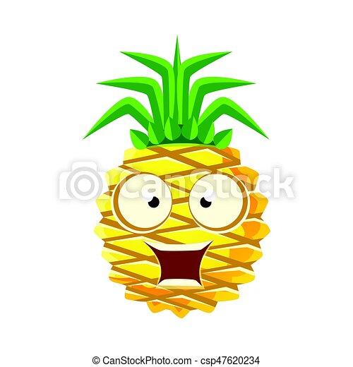 Sorprendida piña divertida con grandes ojos. Lindo emoji de dibujos animados vector de ilustración - csp47620234