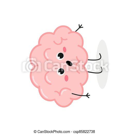 sorprendido, lindo, carácter, caricatura, vector, ilustración, cerebro - csp85822738