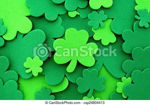 St Patricks Day Shamrock fondo - csp24804413