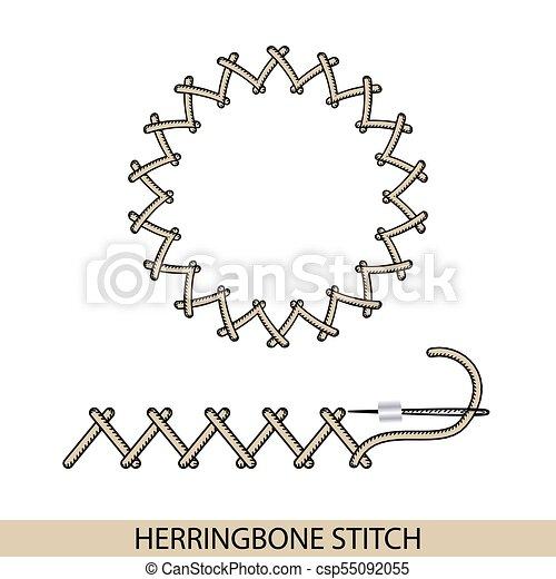 Stitches herringbone stich vector tipo. Colección de bordado de mano de hilo y puntos de costura. El vector ilustra los ejemplos de sutura. - csp55092055