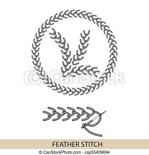 Puntos de TIEMPO FEATHER vector de tipo stich. Colección de bordado de mano de hilo y puntos de costura. El vector ilustra los ejemplos de sutura. - csp55409694