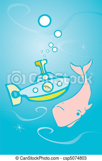 Submarino y ballena - csp5074803