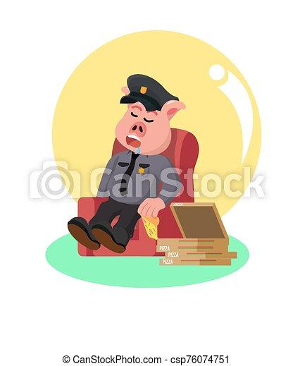 sueño, comida, después, policía, cerdo, sofá, pizza - csp76074751