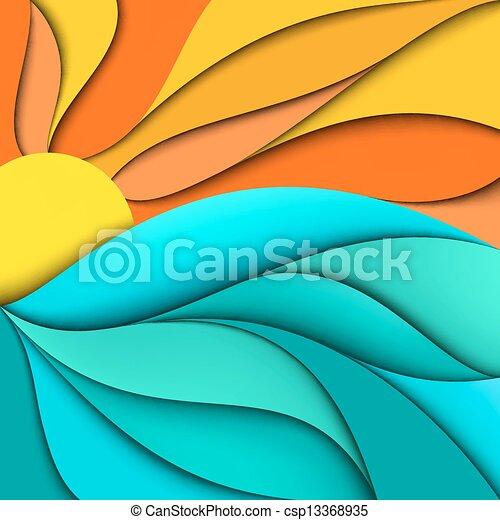 Sunset. Al amanecer. Ondas marinas de fondo - csp13368935