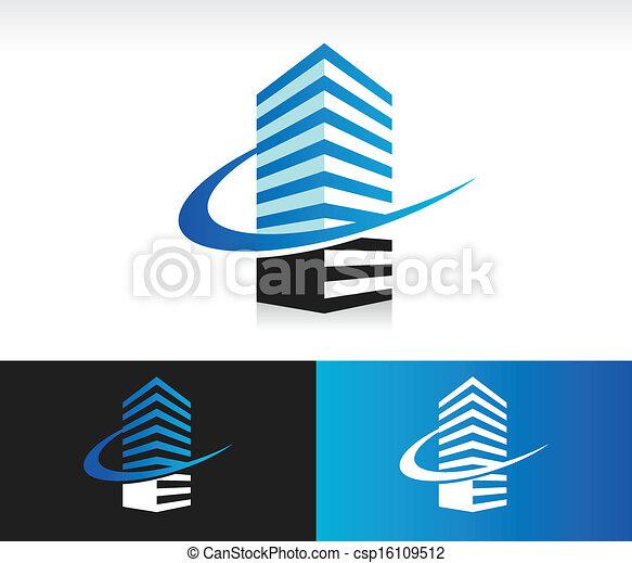 Swoosh el icono del edificio moderno - csp16109512