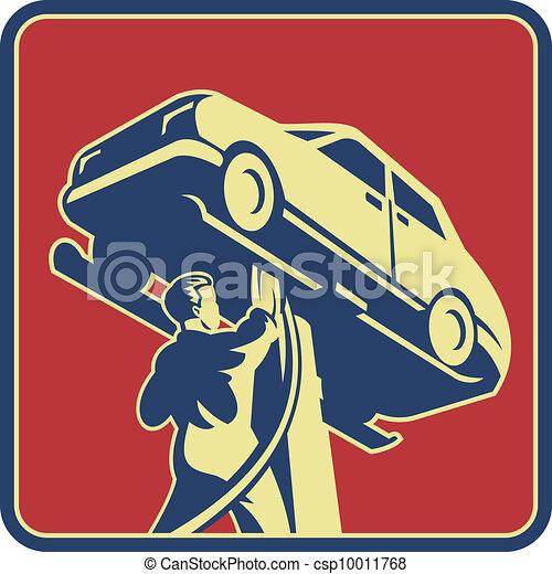 Técnicos mecánicos mecánicos de coches reparar retro - csp10011768