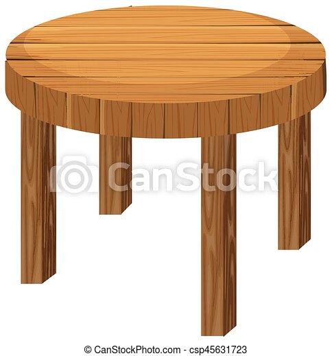 Mesa redonda de madera sobre fondo blanco - csp45631723