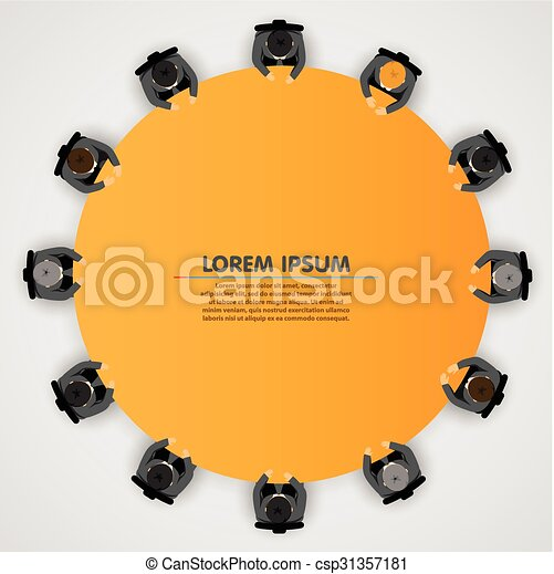 Gente de negocios en una mesa redonda - csp31357181