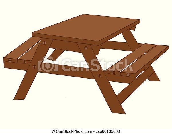 Dibujo de vector de mesa de picnic de madera - csp60135600