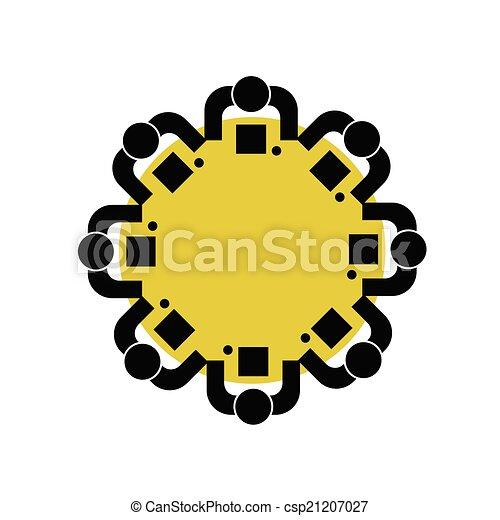 Gente en una ilustración de vectores de mesa redonda - csp21207027