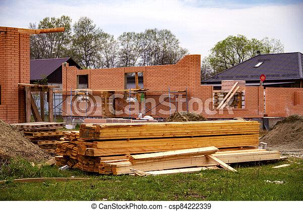 tablas, nuevo, urbanizado, casa, inacabado, área, pila, ecológico, construcción, arena - csp84222339