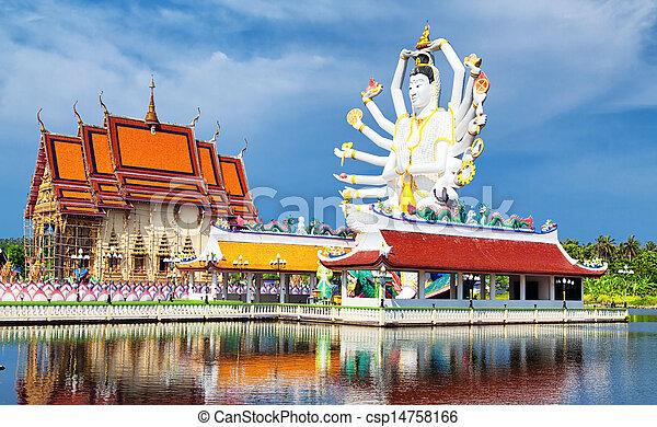 Tailandia marca en koh samui, escultura shiva y buddhist tample - csp14758166