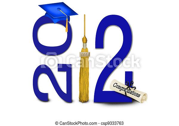 Una gorra de graduación azul - csp9333763