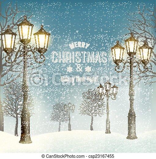 El paisaje de la noche de Navidad con faroles antiguos. Vector. - csp23167455
