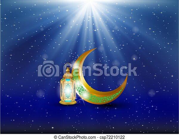 Tarjeta de cubierta de Eid Mubarak, vista nocturna de la mezquita Drawn desde Arch. Fondo de diseño árabe. Tarjeta de felicitación escrita a mano. Ilustración de vectores - csp72210122