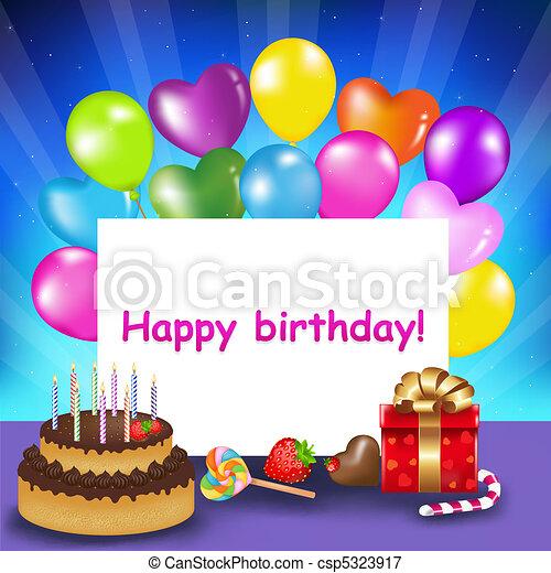 Feliz tarjeta de cumpleaños - csp5323917