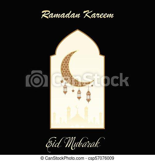 Tarjeta de felicitación Ramadan Kareem con vista de ventana a mezquita. Vector. - csp57076009