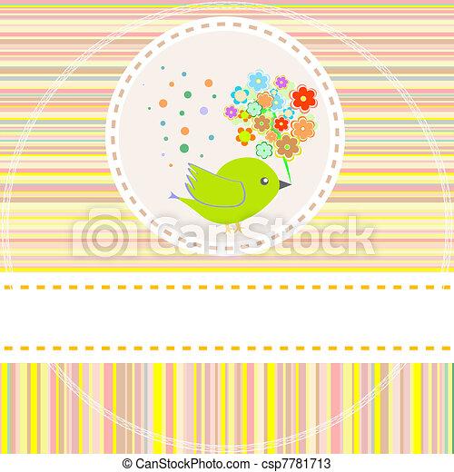 Tarjeta de vector con lindas flores de aves - csp7781713