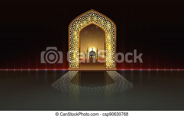 tarjeta, mezquita, fondo., manuscrito, vista, dibujado, noche, vector, cubierta, card., saludo, arco, ramadan - csp90630768