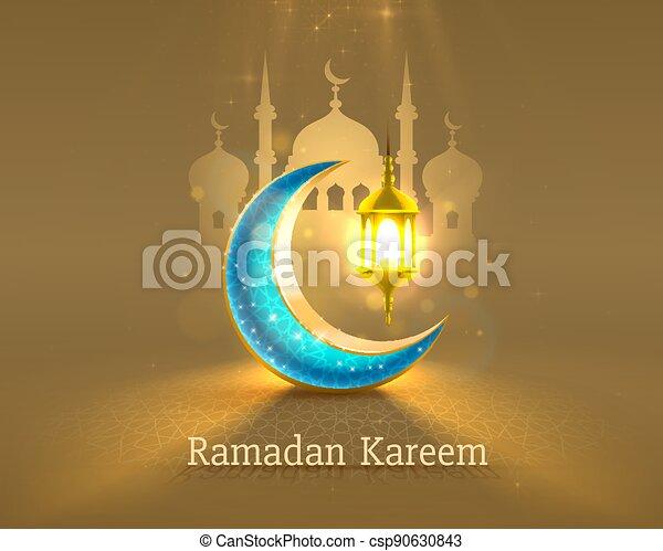 tarjeta, mezquita, fondo., manuscrito, vista, dibujado, noche, vector, cubierta, card., saludo, arco, ramadan - csp90630843