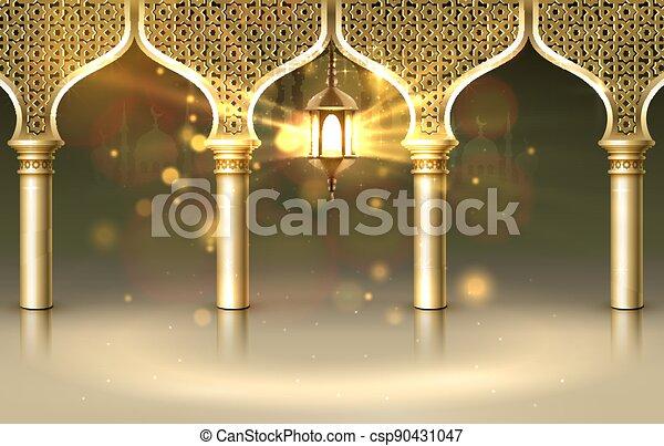 tarjeta, ramadan, vista, dibujado, mezquita, fondo., arco, manuscrito, saludo, card., noche, cubierta, vector - csp90431047