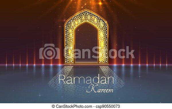 tarjeta, ramadan, vista, dibujado, mezquita, fondo., arco, manuscrito, saludo, card., noche, cubierta, vector - csp90550073