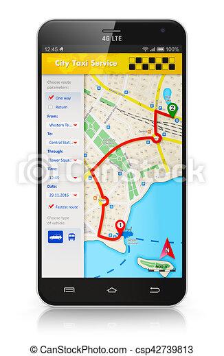 Smartphone con aplicación de servicio de taxi en internet - csp42739813