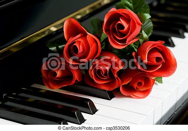 Llave de piano y rosa - csp3530206