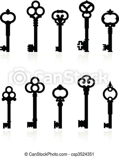 Una colección de llaves antiguas - csp3524351