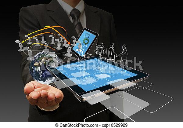 Tecnología en manos de hombres de negocios - csp10529929