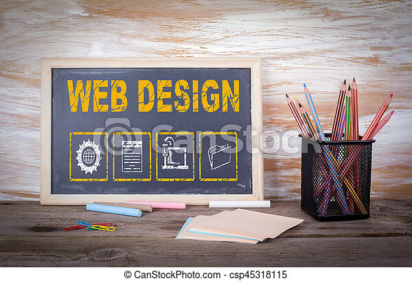 Un concepto de diseño web. Una vieja mesa de madera con textura - csp45318115