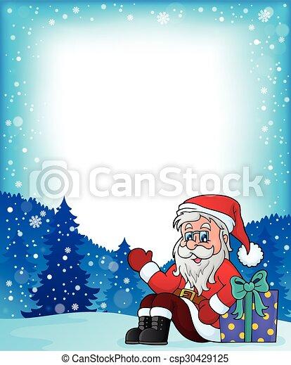 Frame con el tema de Santa Claus - csp30429125