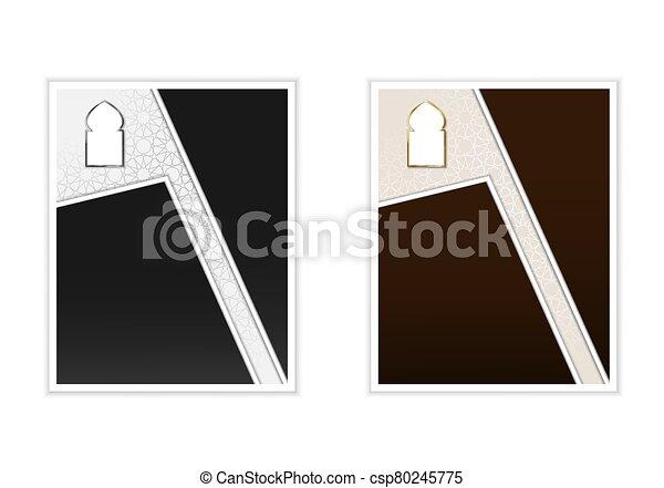 template., card., oro, vector, islámico, árabe, style., cartel, plata, gráfico, ramadan - csp80245775