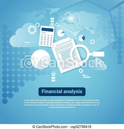Template web banderine con el concepto de análisis financiero del espacio - csp52768418