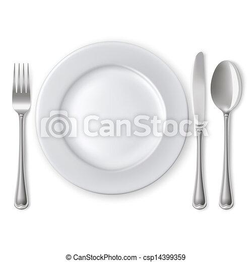 Plata con cuchara, cuchillo y tenedor - csp14399359