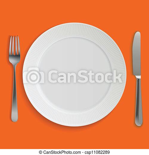 Placa de cena realista, cuchillo y tenedor - csp11082289