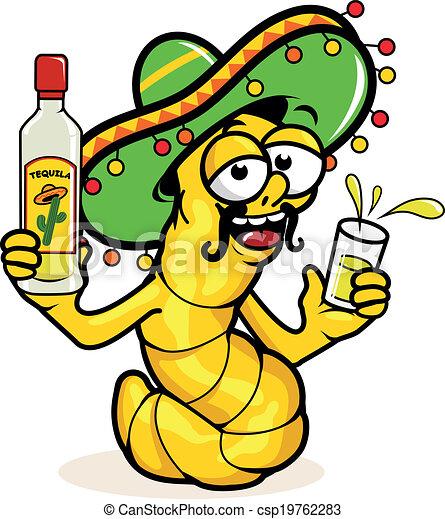 Gusano de tequila borracho bebiendo una botella de tequila. Ilustración de vectores - csp19762283