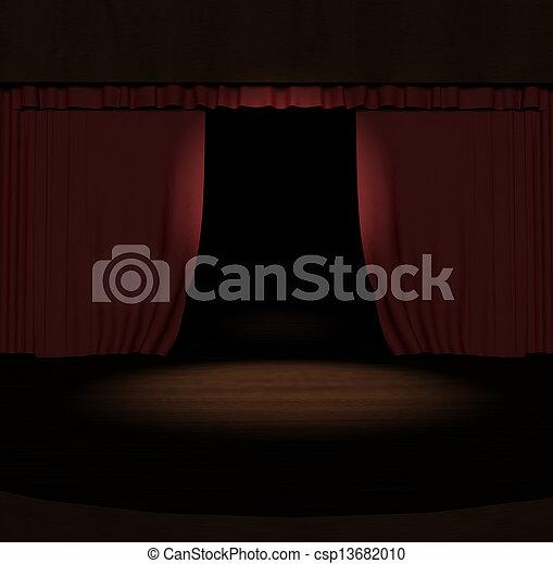 Tercera cortina roja con foco en el escenario - csp13682010
